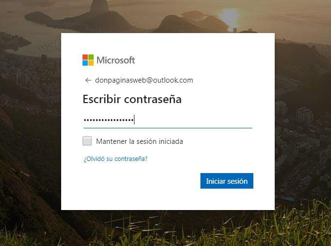 Contraseña Hotmail Outlook