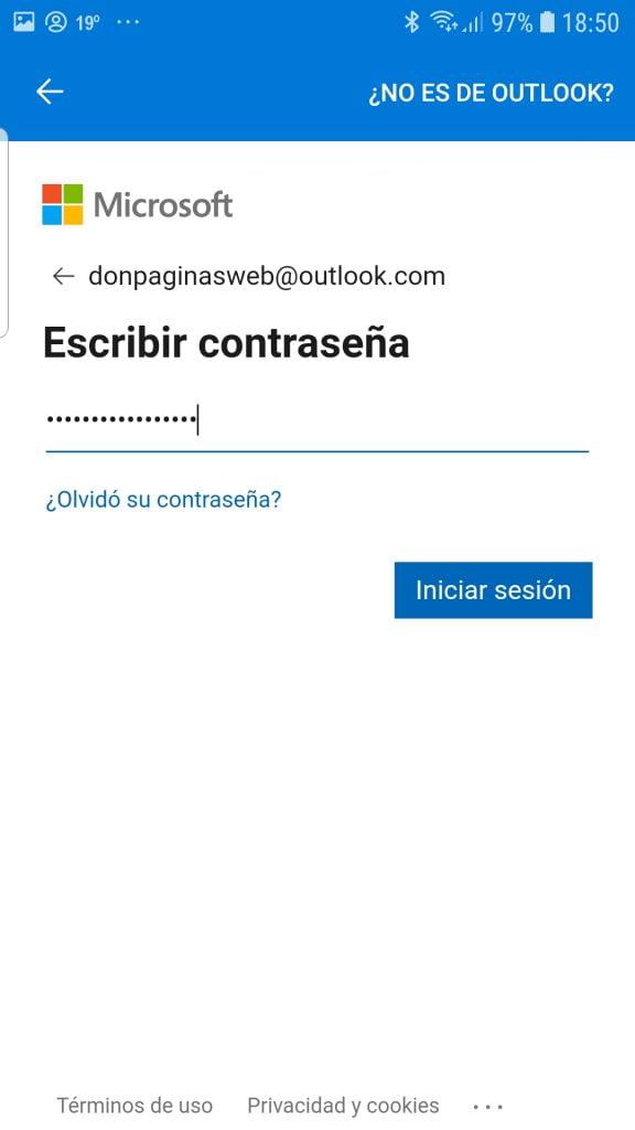 Iniciar sesión en hotmail/outlook Android