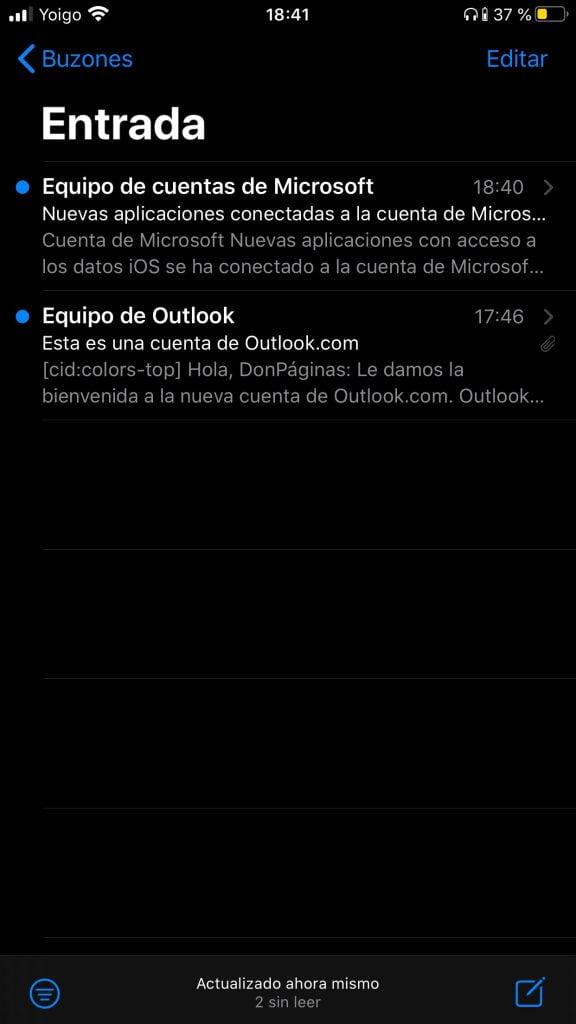 Iniciar sesión en hotmail/outlook iOS