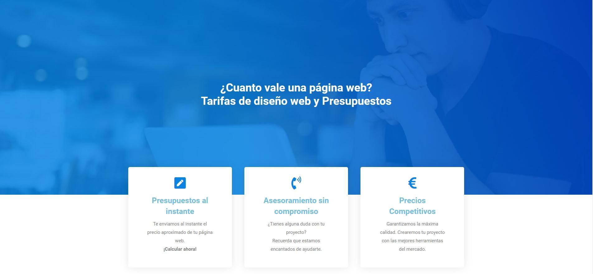 precios diseño pagina web