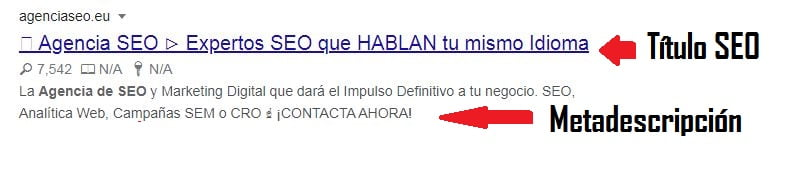 CTR titulo SEO metadescripcion