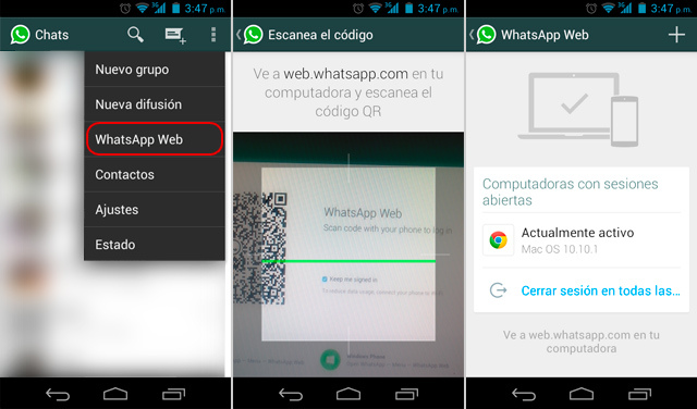 Whatsapp web desde Movil Android